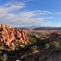 The La Sal Mountains rising beyond the Fiery Furnace.- Fiery Furnace