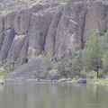 Large basalt formations are visible from the Chimney Rock Campground.- Chimney Rock Campground