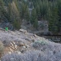 A steep trail provides access to the hot springs and Buckeye Creek.- Buckeye Hot Springs