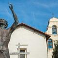 John the Baptist statue.- Mission San Juan Bautistia