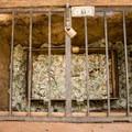 Donation Box at the museum at Mission San Juan Bautista.- Mission San Juan Bautistia