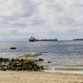 The view of large tanker ships in English Bay from sandy Third Beach.- Stanley Park