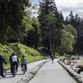 The sea wall path that wraps around the outside edge of the park includes seperate paths for bicyclists and pedestrians.- Stanley Park