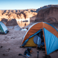 Setting up for the overnight on the rim of Reflection Canyon.- Reflection Canyon