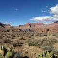 Looking to the west across the Tonto Plateau.- South Kaibab + Bright Angel Trails