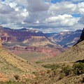 Looking north toward Plateau Point from just above Indian Garden.- South Kaibab + Bright Angel Trails