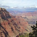 View into the upper canyon from switchbacks below Yaki Point.- South Kaibab + Bright Angel Trails