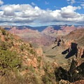 Looking down the Bright Angel fault toward Indian Garden.- South Kaibab + Bright Angel Trails