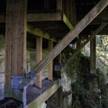 The wood structure underneath the visitor center and deck above the Cliff Walk.- Capilano Suspension Bridge Park