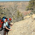 Stop to admire limestone fossil beds just below the canyon's rim.- Hermit Trail