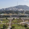 Looking south over the Academy of Sciences toward Mount Sutro and Sutro Tower.- Golden Gate Park