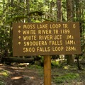 One of many well signed trail junctions.- Snoquera Falls Loop