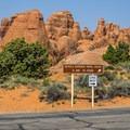 The Devils Garden Trailhead is near the entrance to the campground.- Devils Garden Campground