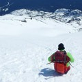 Getting ready for a long ride downhill.- Mount St. Helens: Worm Flows Snowshoe