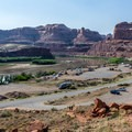 View back to the parking lot and the Colorado River from the trail.- Corona Arch Trail