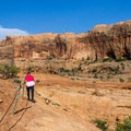 At a few points there are chains to help navigate the trail.- Corona Arch Trail