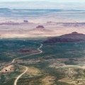 View looking south at Highway 261 and the Valley of the Gods below.- Muley Point on Cedar Mesa