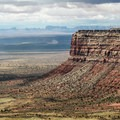 View of Muley Point from the top of the Mokey Dugway.- Muley Point on Cedar Mesa