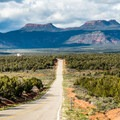 Highway 261 looking north to the Bears Ears.- Muley Point on Cedar Mesa