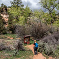 Registration station at the start of the trail.- Mule Canyon + House on Fire Ruin