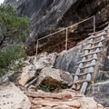 The trail makes extensive use of ladders and stairways.- Natural Bridges Loop