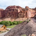 The start of the switchbacks, looking back at the Fruita barn.- Cohab Canyon
