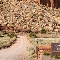 End of the paved road. It is another 2 miles to road's end and the trailhead.- Capitol Reef Scenic Drive