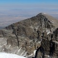 The sheer cliff on the west side of Jeff Davis Peak is impressive from the top of Wheeler.- Wheeler Peak, Winter Route