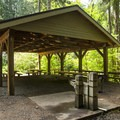 Group camp at Cove Creek Campground.- Detroit Lake, Cove Creek Campground