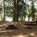 One of seven walk-in campsites, this one a double, at Southshore Campground.- Detroit Lake, Southshore Campground