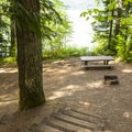 Typical campsite at Southshore Campground.- Detroit Lake, Southshore Campground
