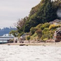 The Tahlequah Ferry approaches the dock on the southern end of Vashon Island.- Vashon Island Circumnavigation