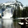 A spot to enjoy the view of Sawtooth Mountain on the edge of Indigo Lake.- Indigo Lake Trail