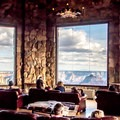 The sun room, with its huge picture windows, is great for viewing the canyon in any weather.- Grand Canyon Lodge, North Rim