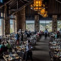 The dining room serves up elk chili, bison steaks, and grilled vegetables.- Grand Canyon Lodge, North Rim