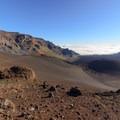 View of the closed trail to Ka Lu'u o ka 'Ō'ō cinder cone.- Sliding Sands Trail: Haleakalā Visitor Center to Erosional Valley Floor