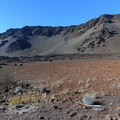 Silversword plants below Haupa'akea peak.- Sliding Sands Trail: Haleakalā Visitor Center to Erosional Valley Floor