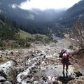 Once above Source Lake, take the talus field directly up to the basin and to Chair Peak.- Chair Peak