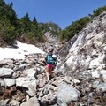 You can follow the rock cairns or make your way up one of the stream gulleys.- Chair Peak
