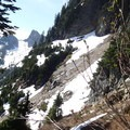 If you feel that your going to cliff out, stay right on your path and you will be able to find some faint climber's paths through the cliff section.- Chair Peak