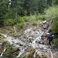 First stream crossing on the Snow Lake Trail.- Chair Peak