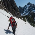 After Headlee Pass, stay to your right and traverse.- Sperry Peak
