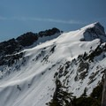 Climbing Sperry Peak and looking at Vesper Peak.- Sperry Peak