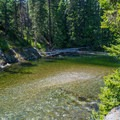 Great swimming hole just steps away from the campsites at Rock Island Campground.- Rock Island Campground