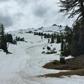 Starting out for the summit.- Mount Bachelor: Spring Lap