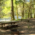 Campsite along the river in Campers Flat Campground.- Campers Flat Campground