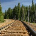 The Vivian Lake Trail crosses the railroad tracks. - Vivian Lake