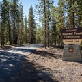 The entrance to Crescent Lake Campground.- Crescent Lake Campground