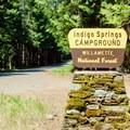 Indigo Springs campgound sign along Forest Service Road 21.- Indigo Springs Campground