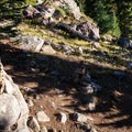 The unofficial Diamond Peak Summit Trail leaving from the PCT.- Diamond Peak, Marie + Rockpile Lakes
